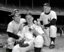 Yogi Berra Whitey Ford Mickey MantleYankees Vintage 16X20 Matted BW Photo - $31.95