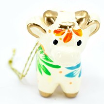 Handcrafted Painted Ceramic White Cow Country Farm Confetti Ornament Made Peru image 2