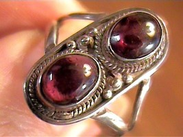 GARNET ring 9  old vintage DUO STERLING SILVER 925 natural real small  A... - £31.86 GBP