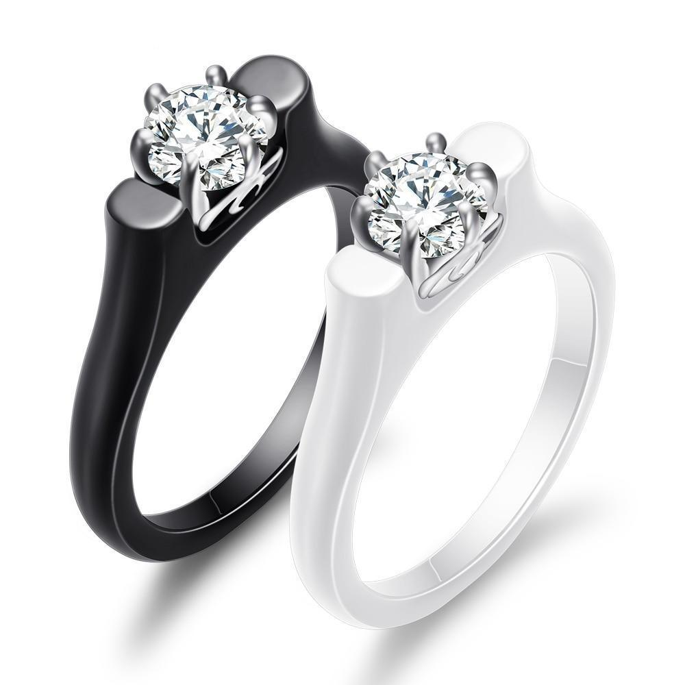 Ceramic ring woman cubic zirconia stone black white color women jewelry engagement wedding rings