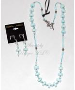 Blue Peru-Peruvian Blue Opal Gemstone Necklace and Earring Set - $183.00