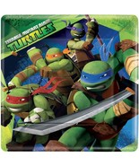 Teenage Mutant Ninja Turtle TMNT Square Lunch Plate 8 Ct Amscan Party Su... - $4.06