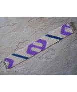 Bracelet, Geometric Motif in Purple, White, & Blue, Peyote Stitch, Tube ... - $39.00