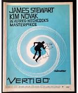 1958 VERTIGO MOVIE POSTER AD MEGA RARE BLUE VERSION! ALFRED HITCHCOCK SA... - $241.69