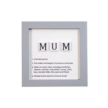 MUM DEFINITIONS GREY WHITE BLACK WOODEN WALL HANGING SIGN 12CM X 12CM X ... - $13.01