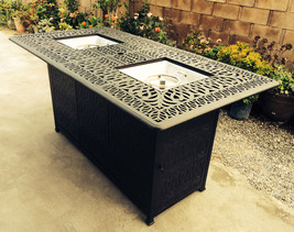 Bar height fire pit dining table 9 piece set cast aluminum patio furniture. image 2