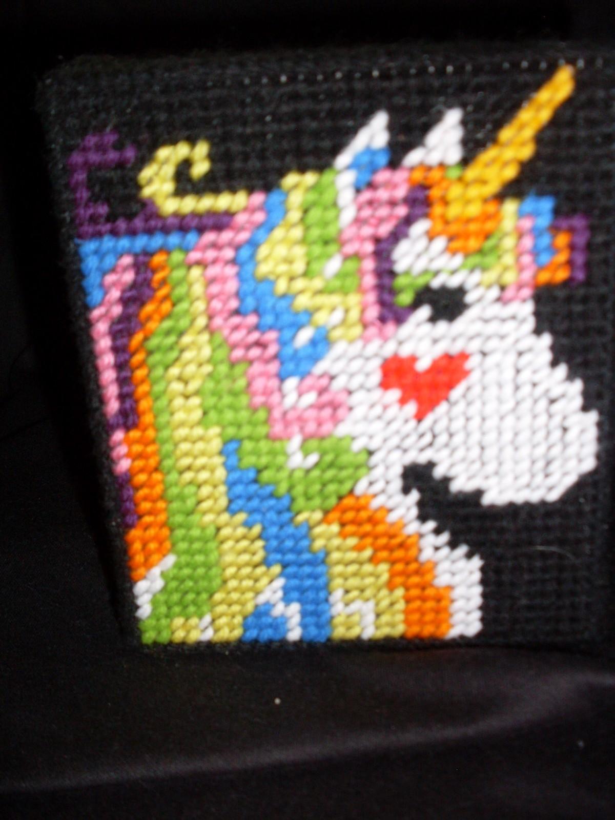 Plastic Canvas Unicorn Tissue Box Cover