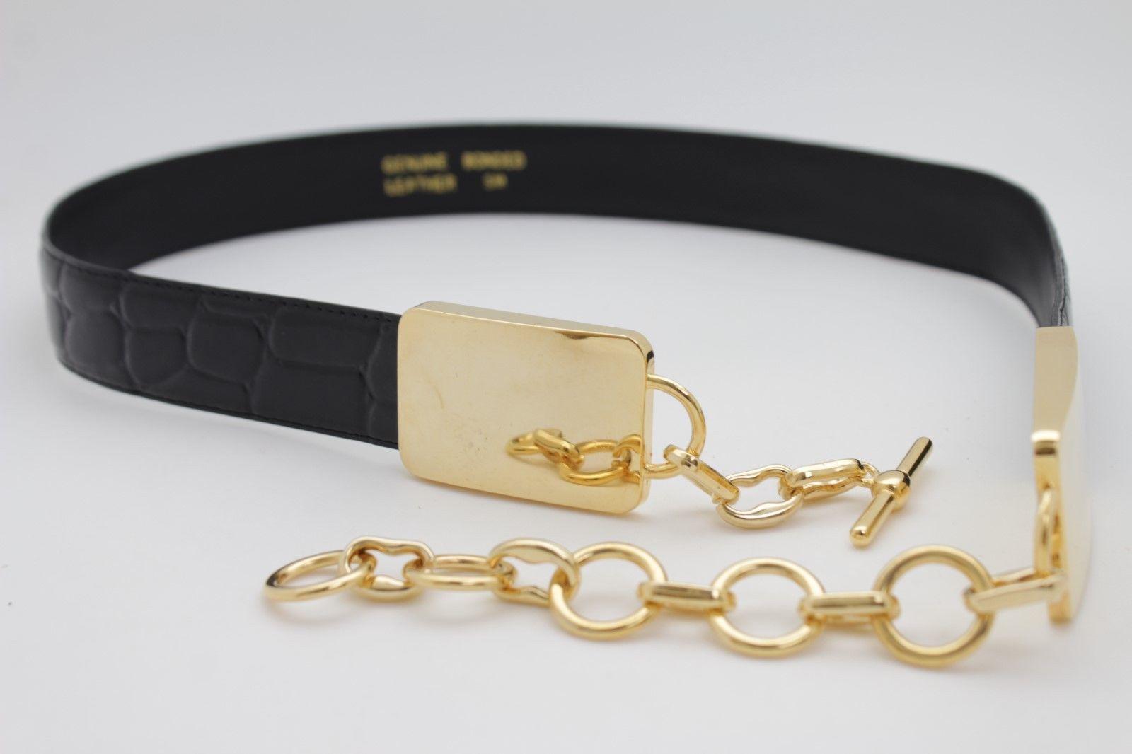 Women Wide Faux Leather Silver Color Belt Gold Metal Buckle Elegant Western S M