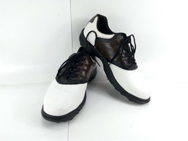 Footjoy Greenjoys Men's Golf Shoes Black White Brown Saddle Soft Spikes Sz 12M - $69.12
