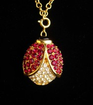 Arlene Dahl necklace - rhinestone Lady Bug - pave crystal Beetle pendant... - $95.00