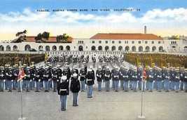 Marine Base Parade Military Band San Diego California linen postcard - $6.44