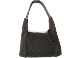 Authentic GUCCI Dark Brown Original GG Canvas Leather Shoulder Bag Purse - $125.00