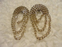 Vintage 80's Gold Tone Dangle Curb Chain Clip On Earrings Silver tone ac... - $9.49