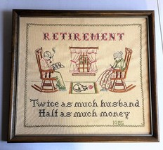 Vintage Funny RETIREMENT Embroidered Needlework... - $37.39