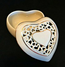 Lenox Trinket Box Heart Shaped Fine China Ivory with Gold Trim 2 inches ... - $22.77