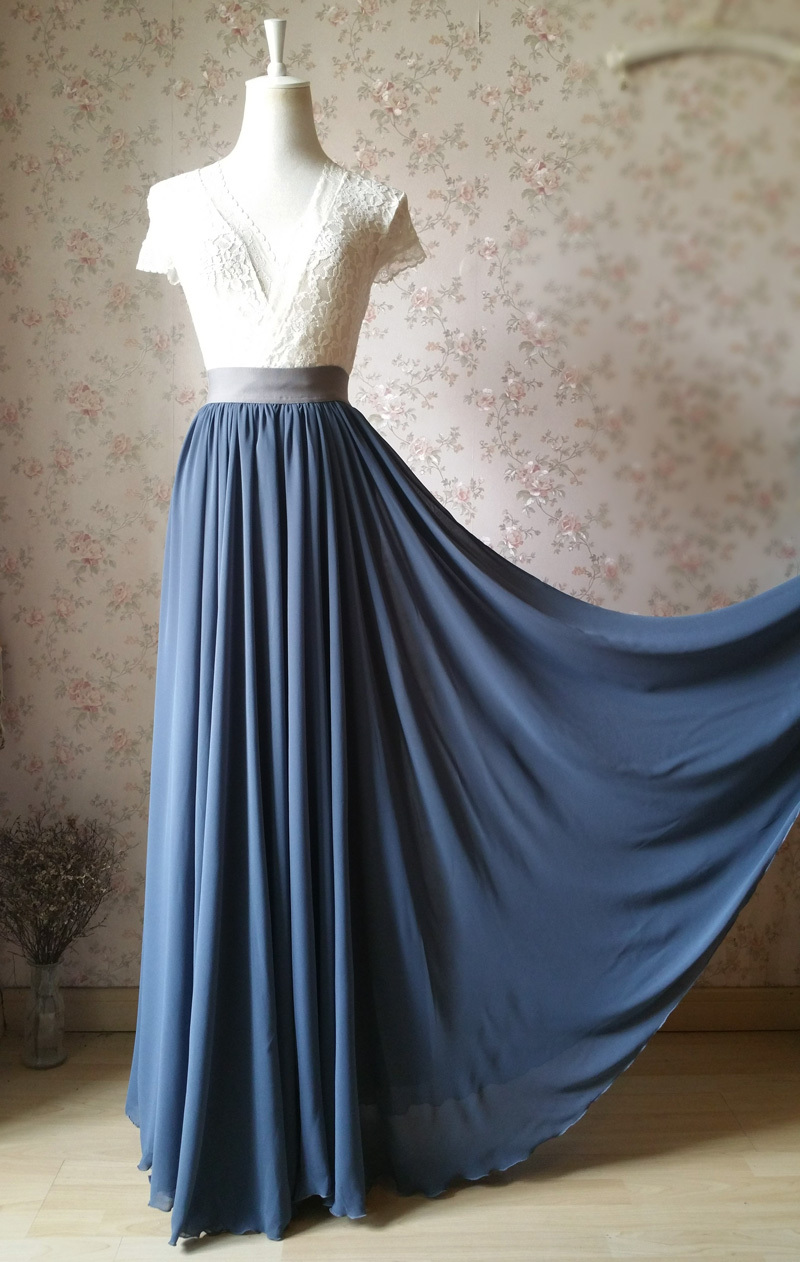 Bridesmaid Maxi Silk Chiffon Skirt Floor Length Maxi Skirt, DUSTY BLUE,Plus Size