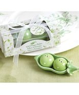 Two Peas in a Pod - Ceramic Salt & Pepper Shakers in Ivy Print Gift Box ... - $53.35