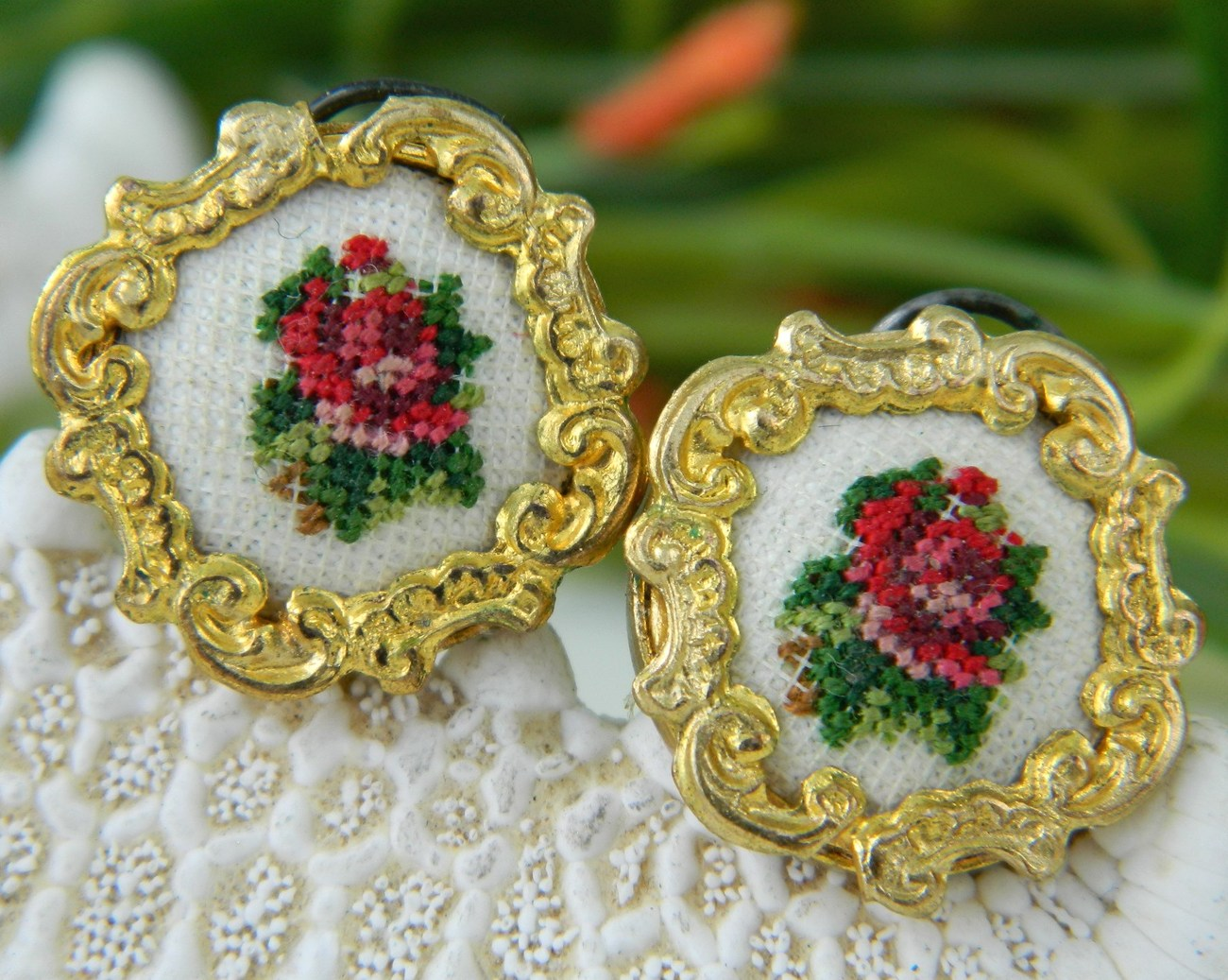 Primary image for Vintage Earrings Needlepoint Embroidered Roses Austria Petit