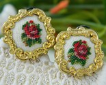 Vintage needlepoint embroidered earrings petit point roses thumb155 crop