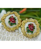 Vintage Earrings Needlepoint Embroidered Roses Austria Petit - $14.95