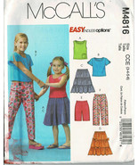 McCalls Pattern M4816 Girls Tops Skirts Shorts and Capri Pants Sizes 3-6... - $6.68