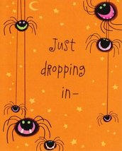 "Greeting Halloween Card ""Just Dropping In-"" to Wish You a Happy Halloween - $1.50"