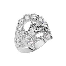 Sterling Silver Horseshoe CZ Mens Ring - £30.41 GBP