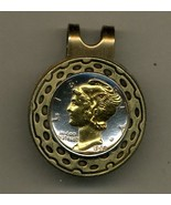 Mercury silver dime  2-Toned Gold on Silver coin golf marker - $64.00