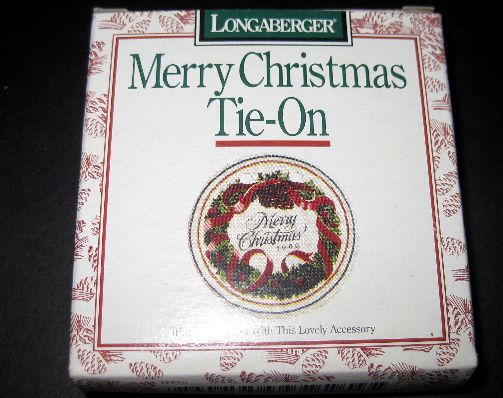 "Longaberger 1996 ""Merry Christmas"" Tie-on to Trim your basket"