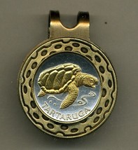 "Cape Verde 1 escudos ""Sea Turtle"", Gold on Silver coin golf marker - $59.00"