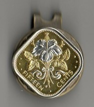 "Bahamas 15 cent ""White Hibiscus"" 2-Toned Gold on Silver Coin Golf Marker - $82.00"