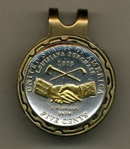 "New Jefferson nickel ""Peace Medal"" Gold on Silver coin golf marker - $70.00"