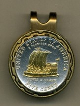 "New Jefferson nickel ""Keelboat""  2-Toned Gold on Silver coin golf marker - $57.00"