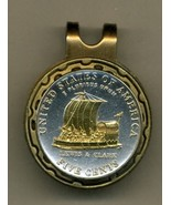 """New Jefferson nickel """"Keelboat""""  2-Toned Gold on Silver coin golf marker - $57.00"""