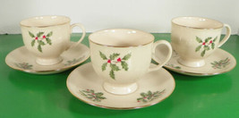 Lenox PRESIDENTIAL SPECIAL Cup and Saucer Set (s) LOT OF 3 Holiday Holly... - $24.70