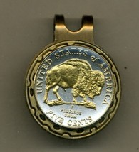 """New Jefferson nickel """"Bison"""" 2-Toned Gold on Silver coin golf marker - $57.00"""