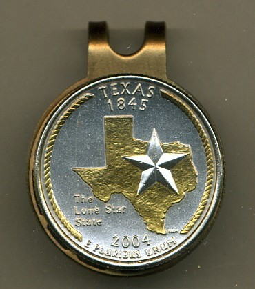 State of Texas 2-Toned Gold on Silver coin golf marker