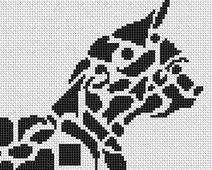 Tribal Chihuahua monochrome cross stitch chart White Willow stitching