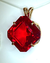 Flashing Ruby Red Topaz / 10k Gold Pendant from KT Elegant Jewelry - $239.95