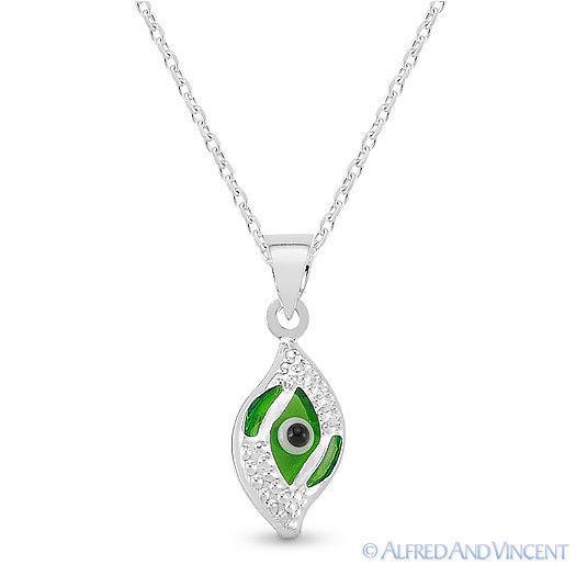 Evil Eye Glass Bead Greek Turkish Nazar Hamsa Pendant Sterling Silver Necklace image 7