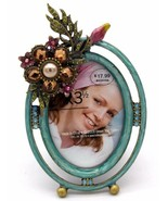 Beautiful Jeweled Flower Picture Frame 2 x 3.5 by Green Tree Gallery NEW - $24.30