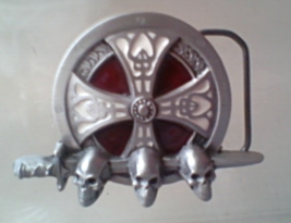 Belt Buckle PIRATE Skull Iron Cross Gothic Celtic Collectible NEW - $49.99
