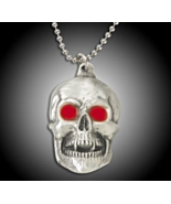 Jewelry Pirate Skull Pendant with Ruby Red Eyes with Chain - $19.99