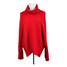 Anthropologie Moth Turtleneck Sweater M Women Red Ribbed Long Dolman Sle... - $38.54