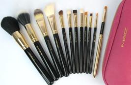 Professional MAC Brush Set Pink Zipper Case with Gold Trim Logo - $120.00