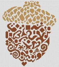 Tribal Acorn monochrome cross stitch chart White Willow stitching - $7.65