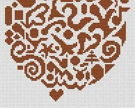 Tribal Acorn monochrome cross stitch chart White Willow stitching