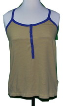 HURLEY  RACER BACK YELLOW & GRAY TOP SMALL W/ BLUE STRAPS BEACHWEAR SURF... - $14.95