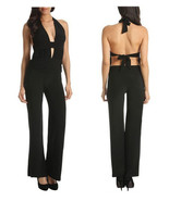 New Sassy Jumpsuit, Sexy open back halter, Black color  ( XS, S, M, L) - $28.14