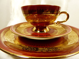 VTG Bavaria Porcelain MPK Red Gold 3 piece set ... - $79.30
